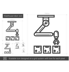 Warehouse robot line icon vector