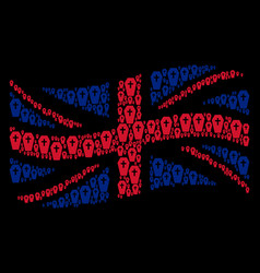 waving great britain flag mosaic of coffin items vector image
