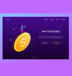 way to success - modern isometric web vector image