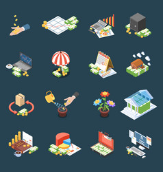 Wealth management isometric icons vector