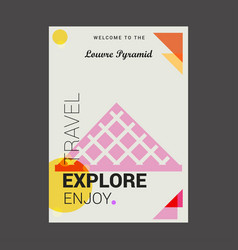 Welcome to the louvre pyramid paris france vector