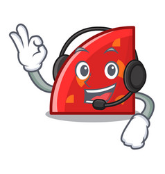 with headphone quadrant mascot cartoon style vector image