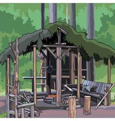 Wooden structure in woods vector