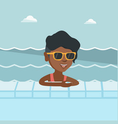 young african woman relaxing in swimming pool vector image