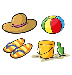 Beach objects vector image
