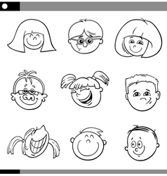 children faces characters set vector image