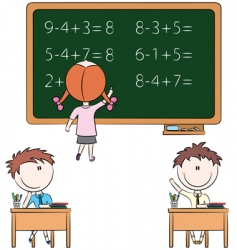 cute kids in the classroom vector image vector image