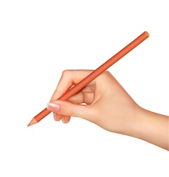 hand with pen writing on paper vector image vector image