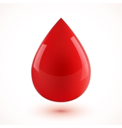 Red glossy realistic 3D blood drop vector image vector image