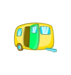 Yelllow camping trailer icon cartoon style vector image vector image