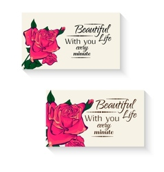 business cards with flowers vector image
