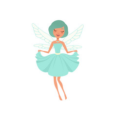 cartoon smiling fairy girl in blue dress vector image vector image