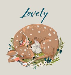 cute summer deer with hare vector image vector image