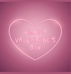 happy valentines day heart rose neon banner vector image