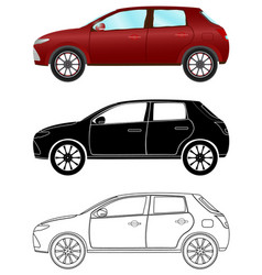 modern hatchback car in three different types vector image
