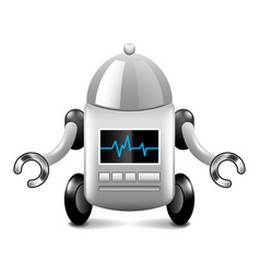 robot on wheels isolated on white vector image vector image