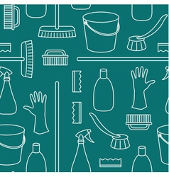 Seamless pattern made of household cleaning object vector image