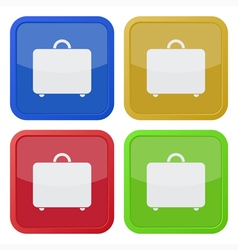set of four square icons with suitcase vector image vector image