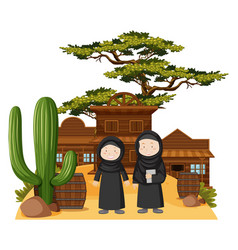 two muslim girls in western town vector image vector image