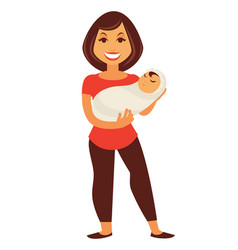 young mother woman holding newborn baby child vector image