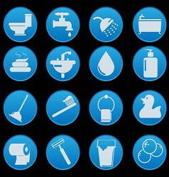 Bathroom and toilet icon set gradient style vector
