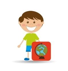 Boy cartoon school globe map icon design vector