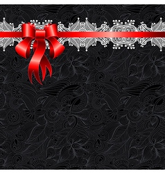 Holiday background with red ribbon EPS10 vector image