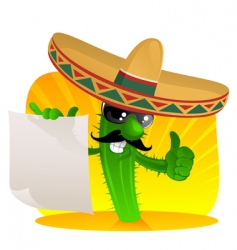 mexican cactus with scroll vector image