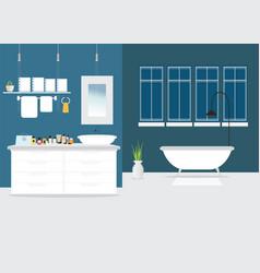 modern bathroom interior design with furniture vector image