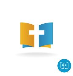 Open book with religion cross symbol logo vector image