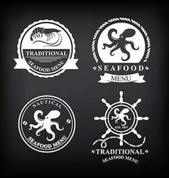 Restaurant menu set of seafood template design vector image