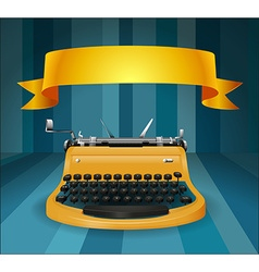 Retro typewriter with banner vector
