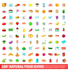 100 natural food icons set cartoon style vector image vector image