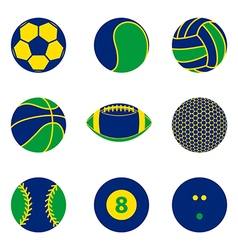 Collection of sport ball icon Brazil color concept vector image vector image