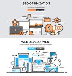Flat design line concept Seo Development vector image vector image