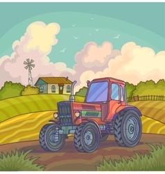 Harvest time Farm rural landscape vector image