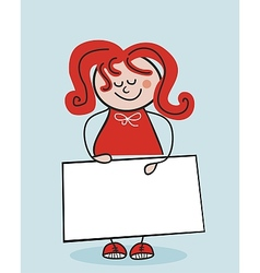 Little School Girl And Banner vector image vector image