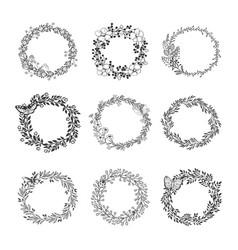 set of beautiful wreath vector image