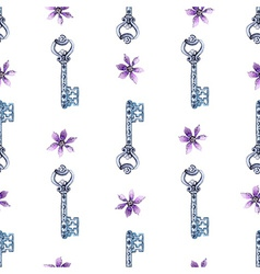 Watercolor flower and key pattern vector