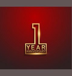 1 year golden anniversary line style isolated vector