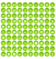 100 athlete icons set green circle vector