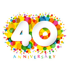 40 years anniversary paper colorful logo vector