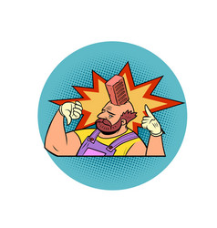 a brick fell on his head production safety vector image
