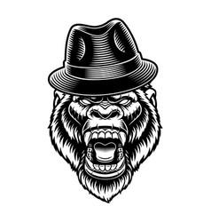 A gorilla in hat vector