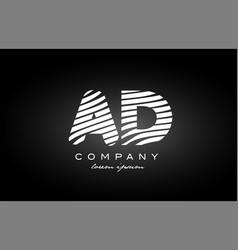 Ad a d letter alphabet logo black white icon vector