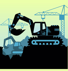 Background of excavator loader vector