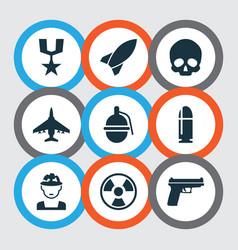 Battle icons set collection cranium slug vector