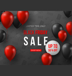 black friday sale banner 3d red and black vector image