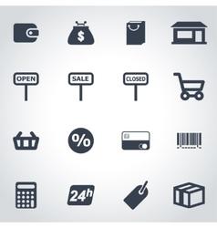 black shop icon set vector image
