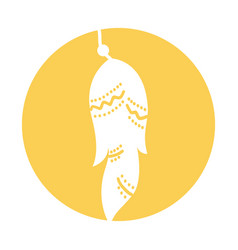 Boho style decorative feather vector